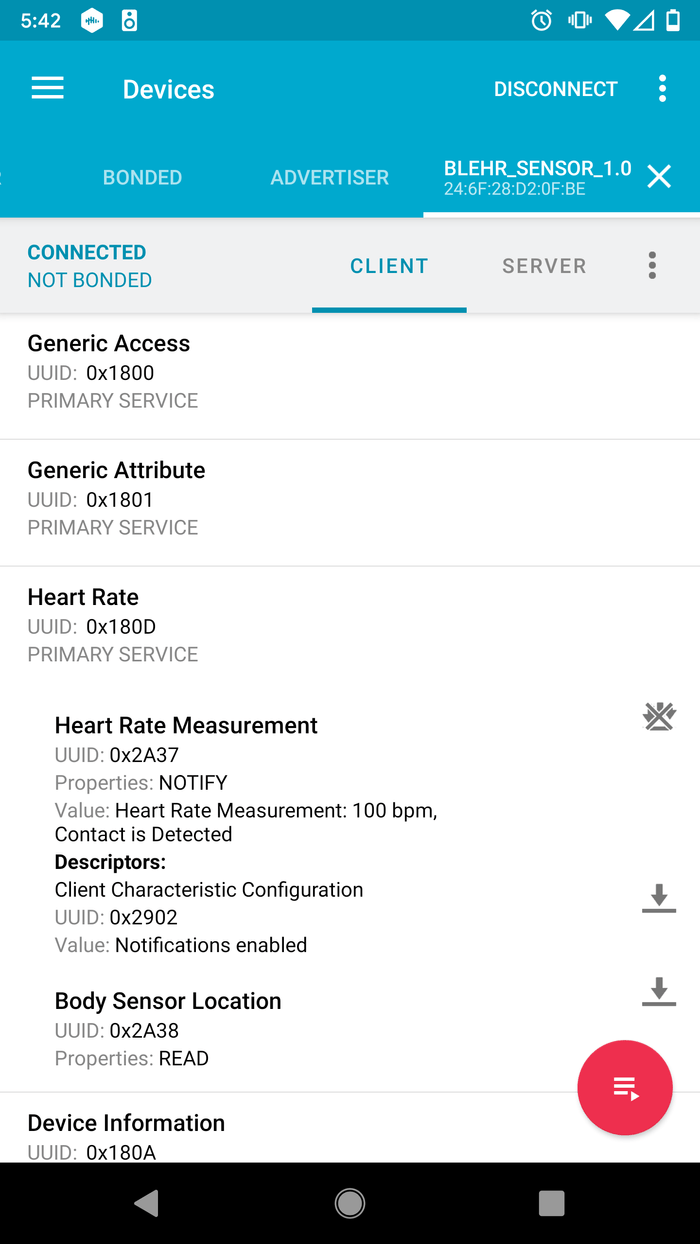 app displaying bluetooth heartrate service
